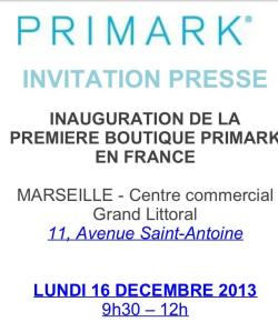 Invitation Presse Primark Marseille